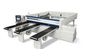 Automatic single-blade beam saw for plastic materials