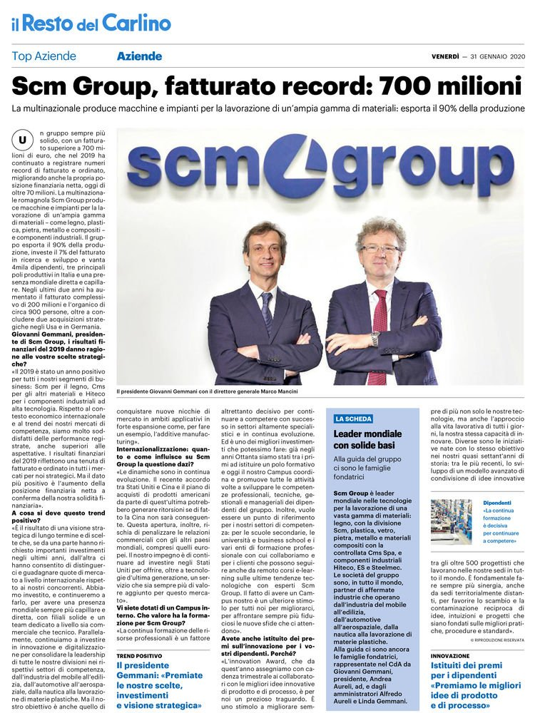 "Scm Group, record turnover of 700 million. The interview with Giovanni Gemmani on ""Top Aziende"""
